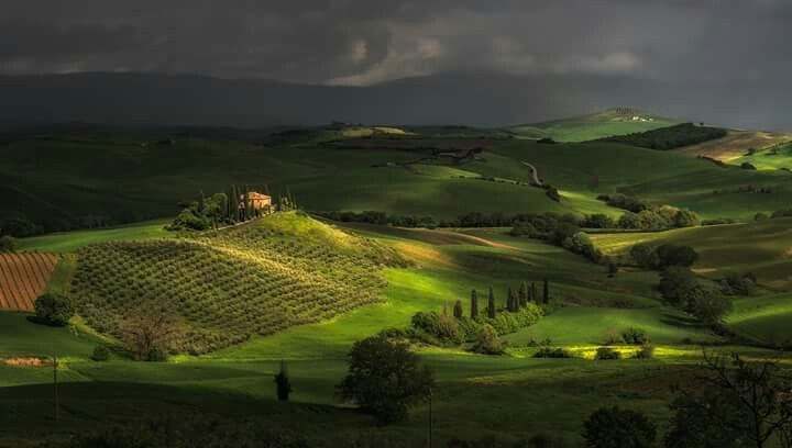 10 minuts of light after 3 rainy days. San Quirico d'Orcia - Tuscany - Italy.