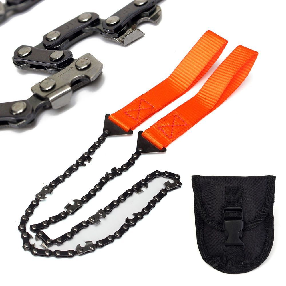 Survival Chain Saw Pocket Gears w// Pouch Hand ChainSaw Emergency Camping Kits