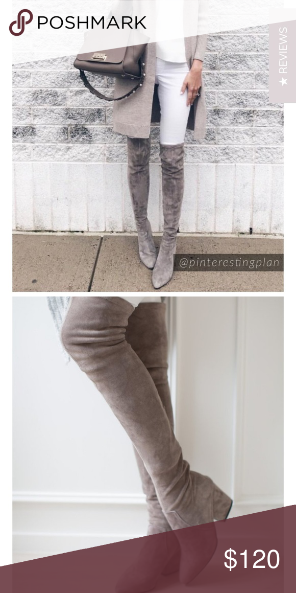 7cbd638a98b CARINA  TAUPE OVER THE KNEE SUEDE LEATHER BOOTS Goodnight Macaroon  Carina   Taupe Over
