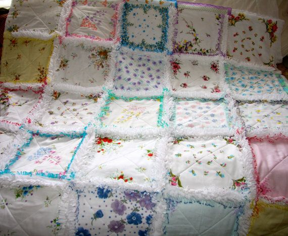 Hankie Rag Quilt -  made with hankies, white flannel and white fleece on the back. It has been clipped on all the seams except the finished scalloped edges of the hankies around the perimeter intact and just clipped the underside flannel and fleece.