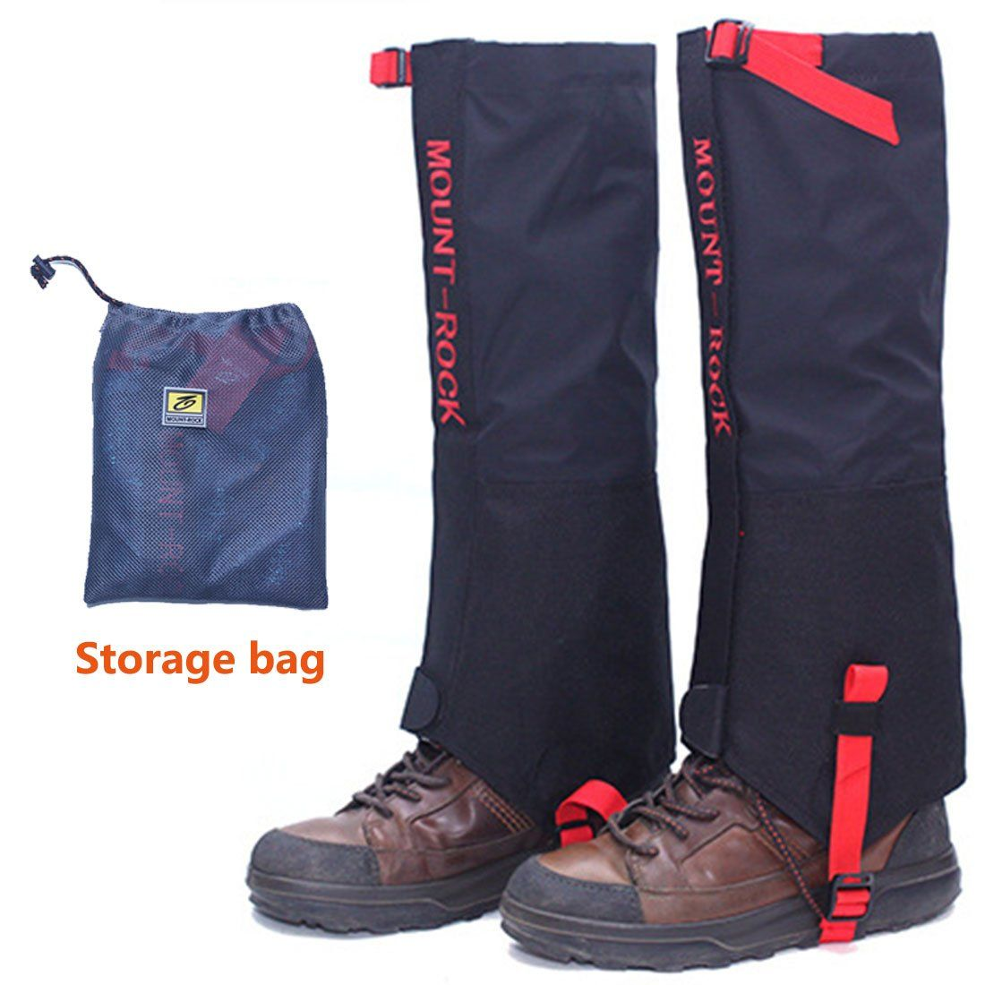 Black Crystal Hiking Ski Snow Gaiters Waterproof Breathable Nylon Mens Black Size Extra Large