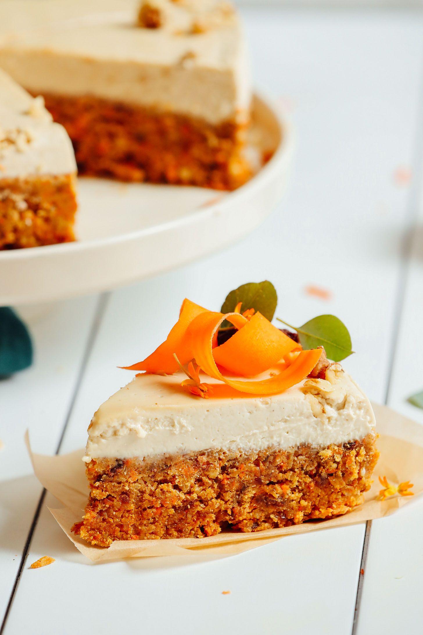 Raw Carrot Cake With Vegan Cream Cheese Frosting Recipe Raw Carrot Cakes Raw Vegan Cake Vegan Cream Cheese Frosting