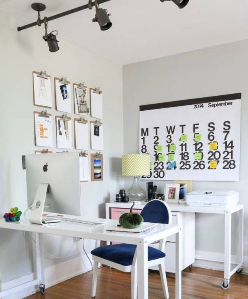 Small Home Office Decoration Ideas All White Furniture And Wall