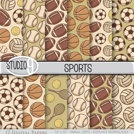 VINTAGE SPORTS Patterns Digital Paper 12 x by STUDIO9illustrations