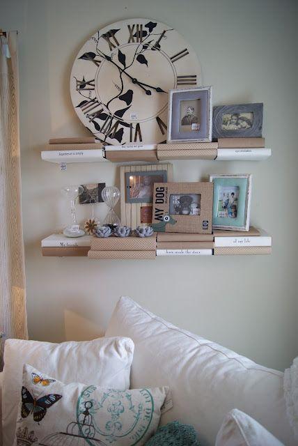 wall shelves made of books