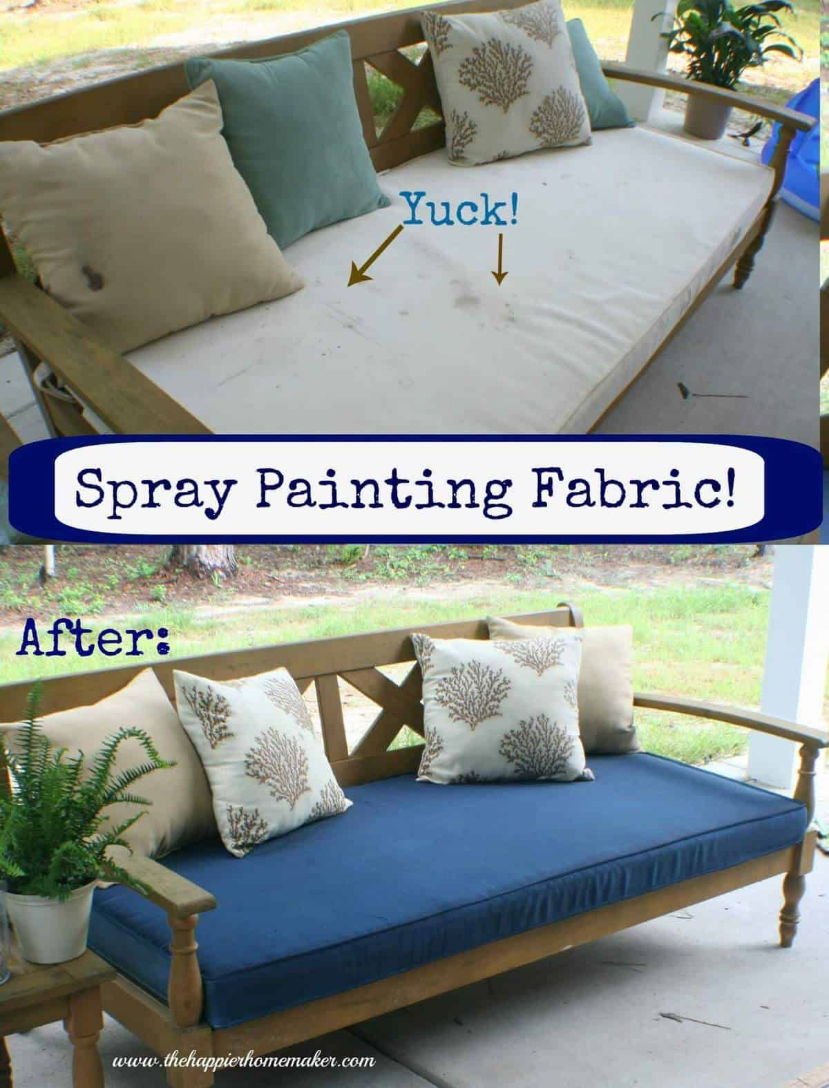 Yes, you can spray paint fabric! This step by step tutorial shows you how to paint fabric without leaving it crunchy using fabric spray paint!