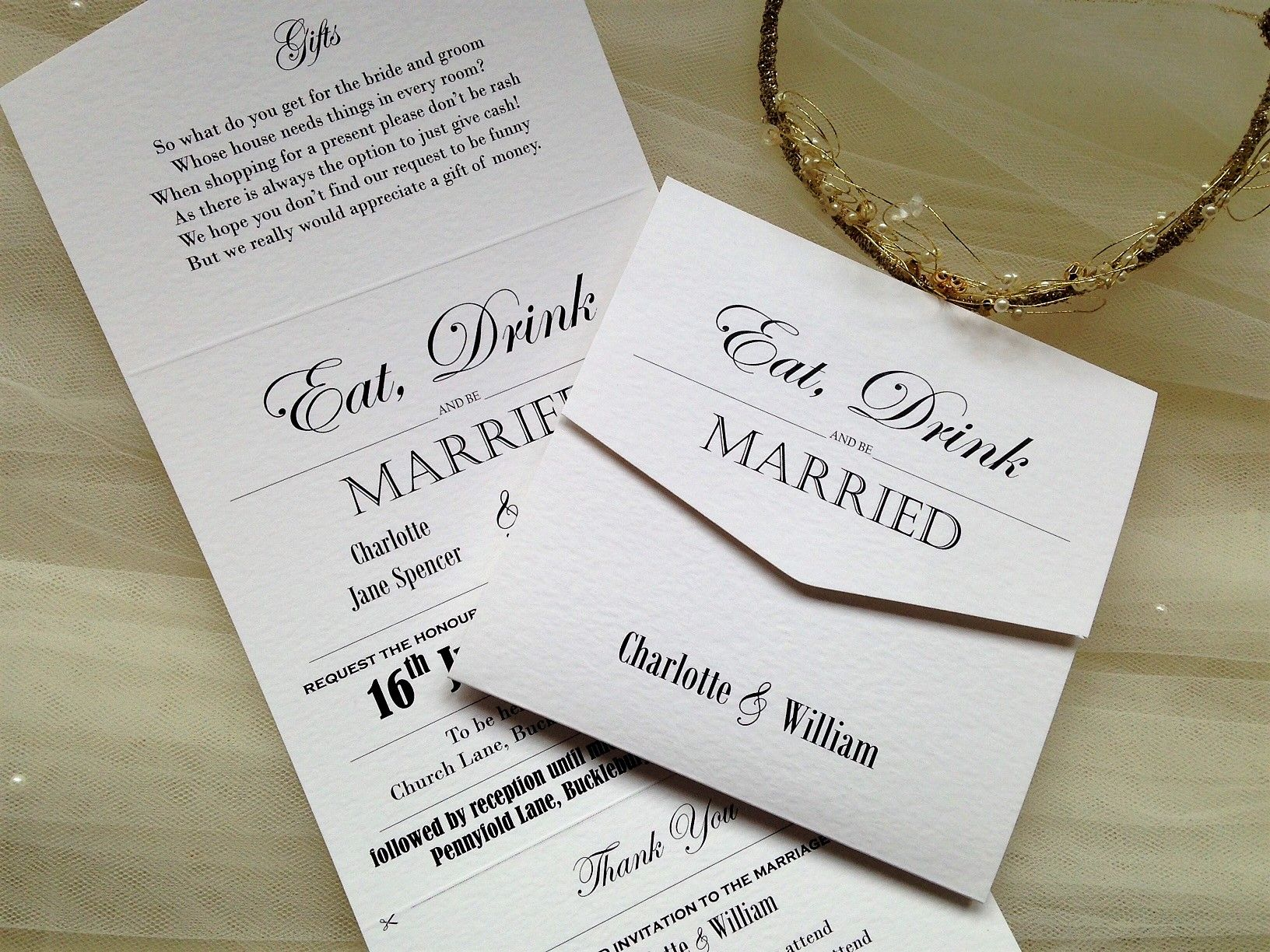 Vintage Tri Fold Wedding Invitations With Snip Off Rsvp Top Rated Uk Company Quick