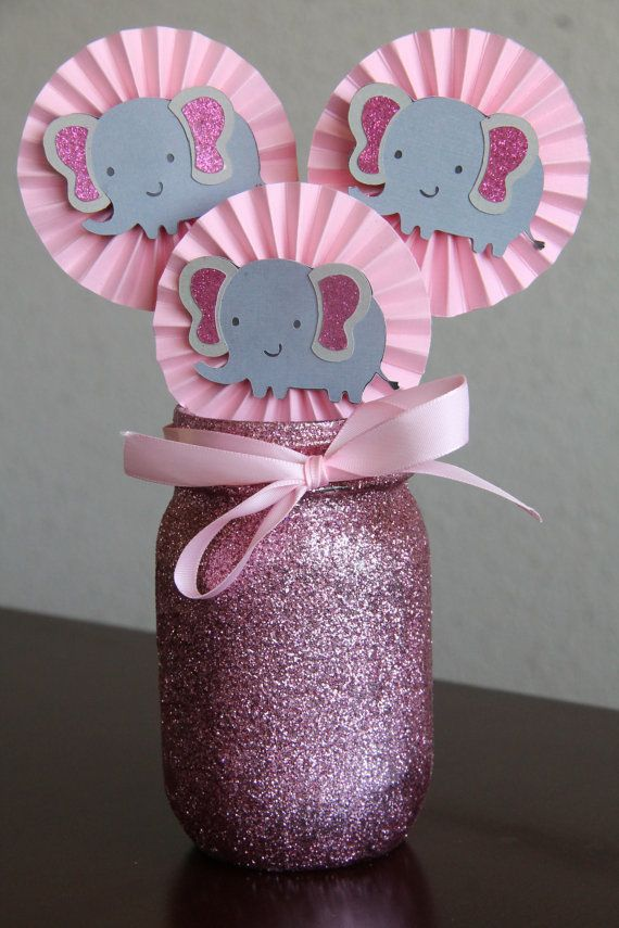 Gray and pink glitter elephant centerpiece cupcake by