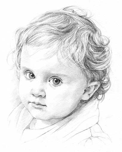 Baby pencil portrait drawing