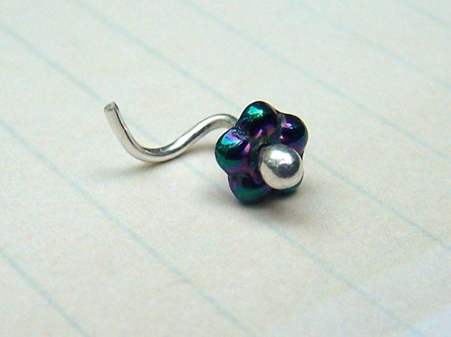 Nose Ring Flower Nose Stud Purple Sterling by Daisysgemgarden 7 00