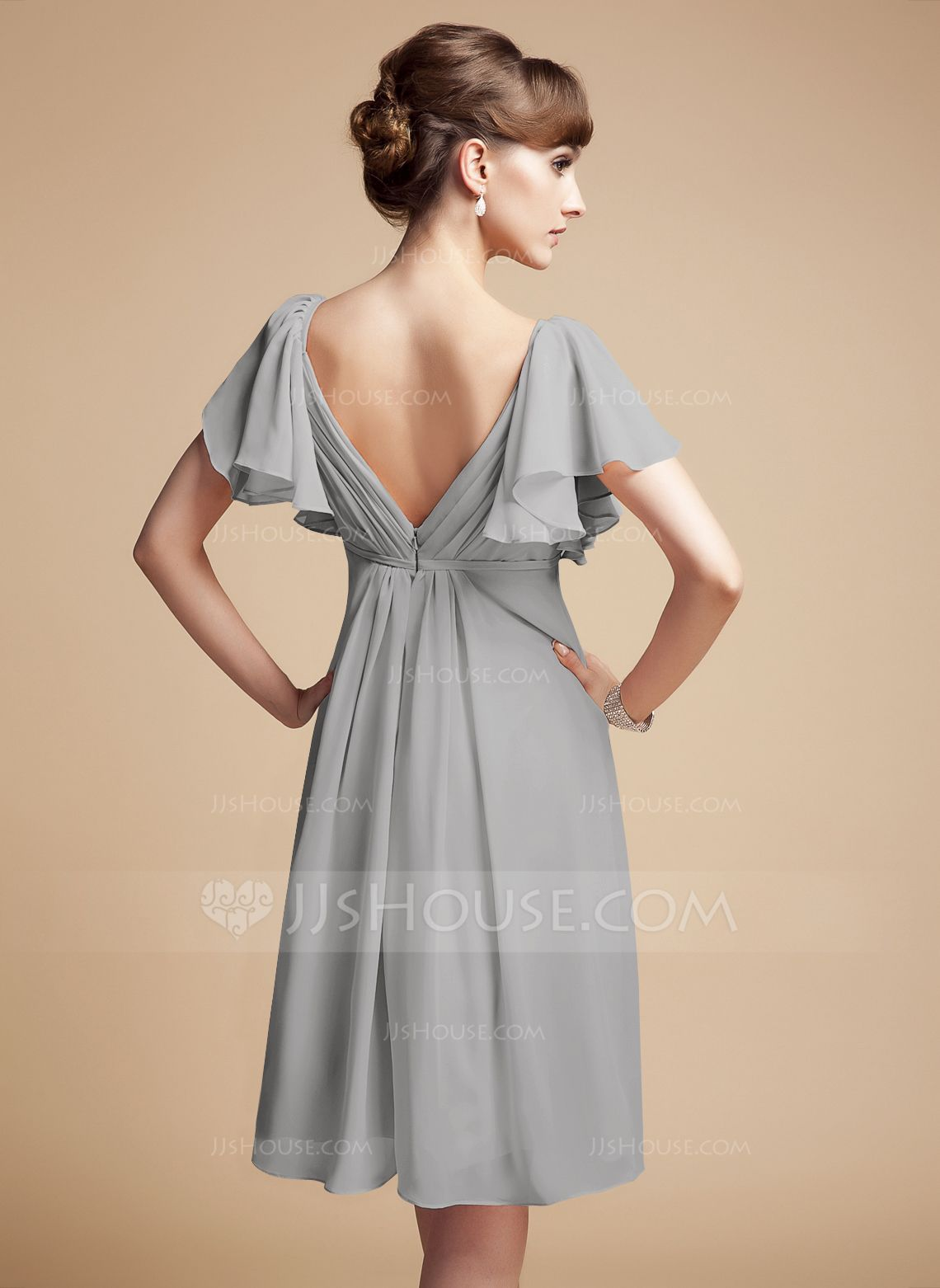 Empire sweetheart kneelength chiffon bridesmaid dress with
