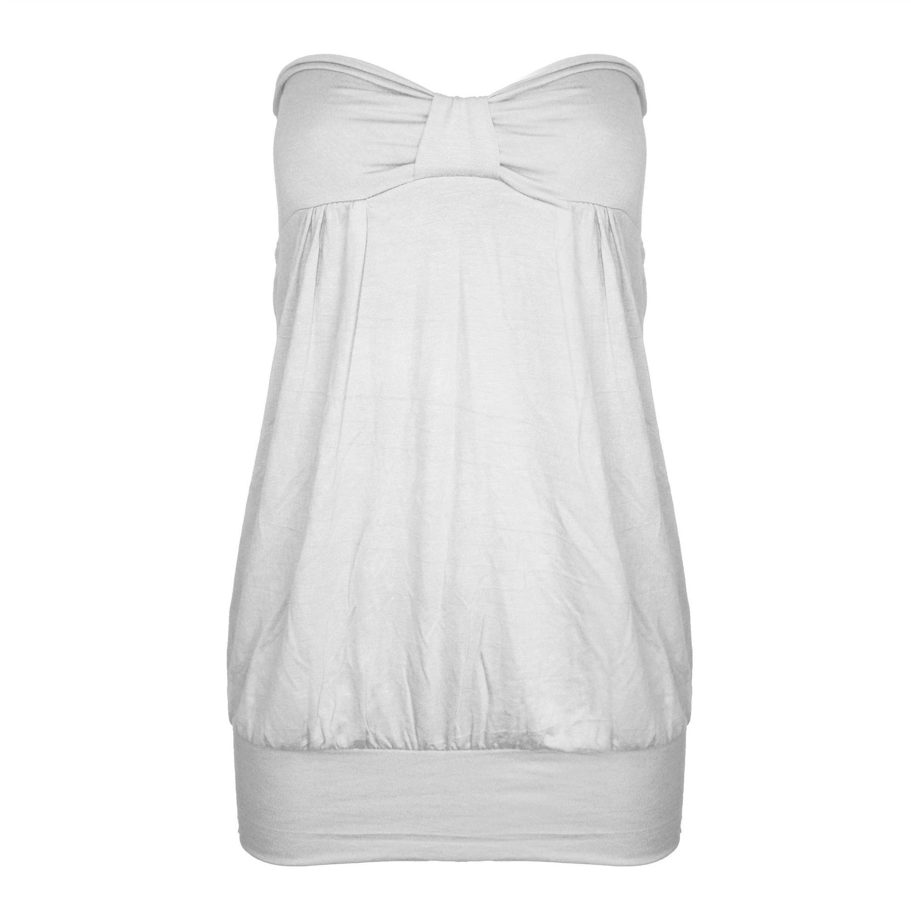 5864cec2f6 Womens-Strapless-Summer-Ladies-Casual-Front-Knot-Bandeau-Boobtube-Top -Plus-Sizes