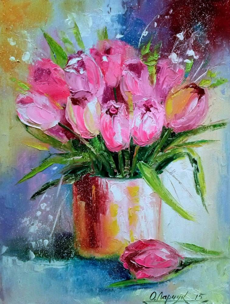 Рисунок весенних цветов маслом