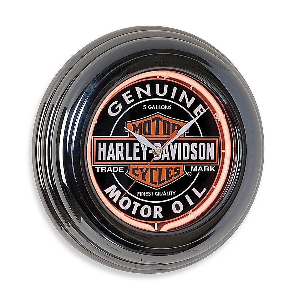 Photo of Harley Davidson Oil Can Neon Clock Black