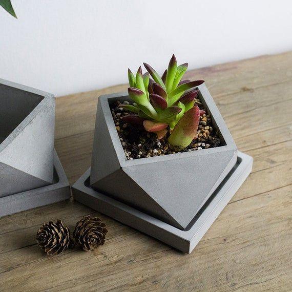 Geometric Polygon Concrete Planter Silicone Mold Home Etsy Concrete Planters Cement Vase Diy Concrete Planters
