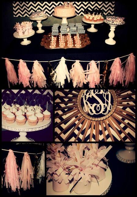 Black White Chevron Pale Pink Gold Birthday Party Ideas Gold