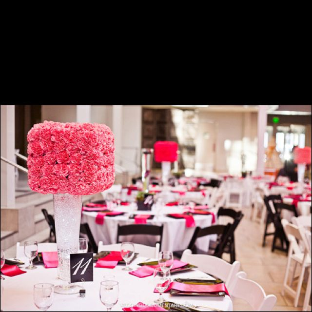 Pink And Black Wedding Ideas: Wedding Set-up, Colors Black, Different Shades Of Pink