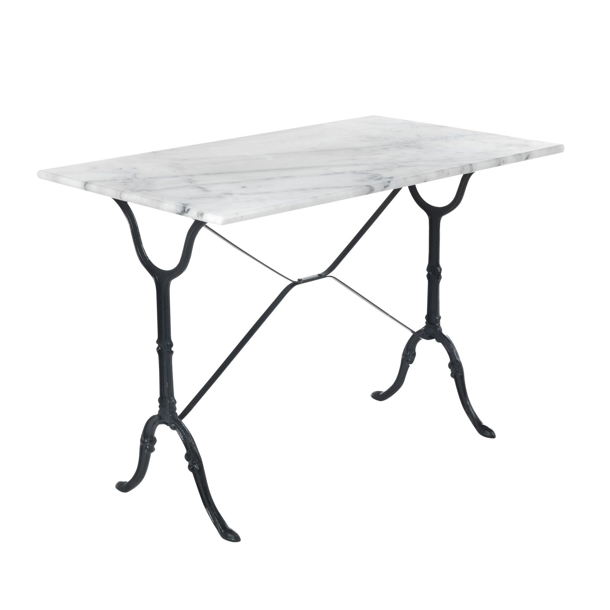 Table rectangulaire avec plateau en marbre blanc noir for Table de cuisine en marbre