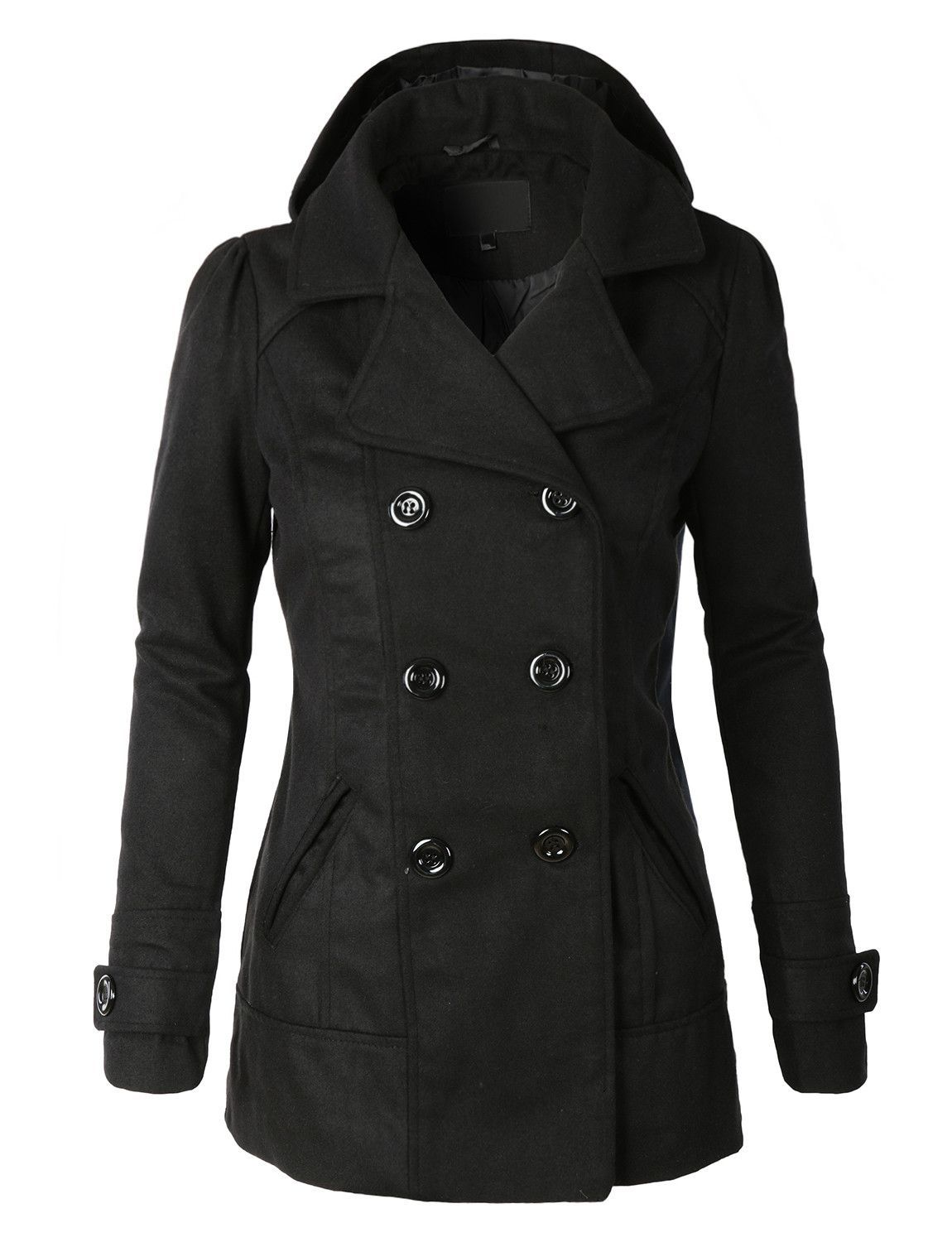 32e70d4fa06c LE3NO Womens Classic Wool Double Breasted Pea Coat Jacket With Hoodie  33.00