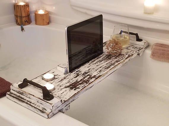 Rustic Bathtub Tray   Wood Bath Tray   Bath Caddy   Wine Caddy   IPad Holder