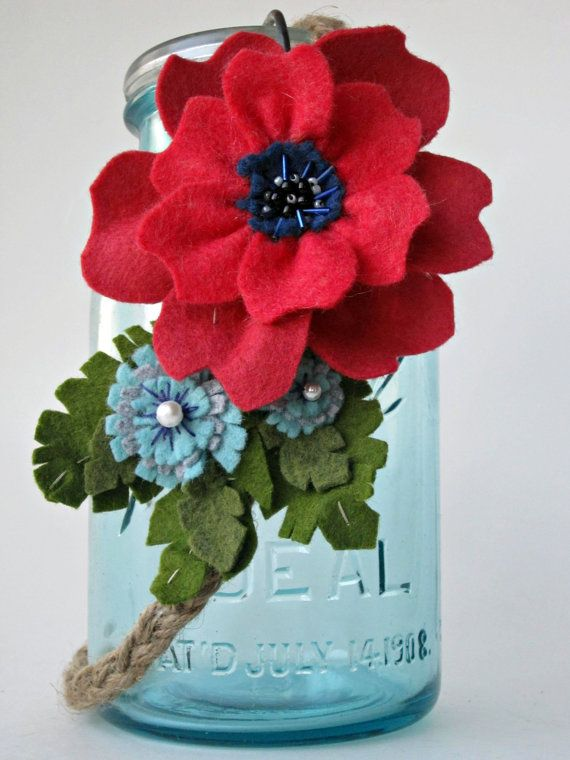 Poppy and Chicory Headbandwool felt and twine by TheArtSwallow
