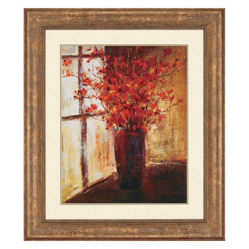 Paragon vase of red flowers framed wall art from hayneedle com