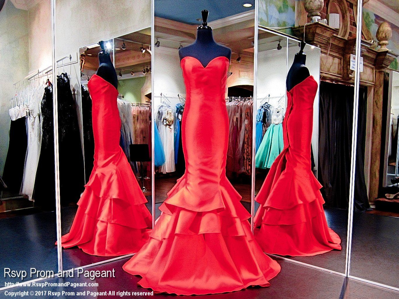 Plus size red strapless tiered mermaid prom dress products
