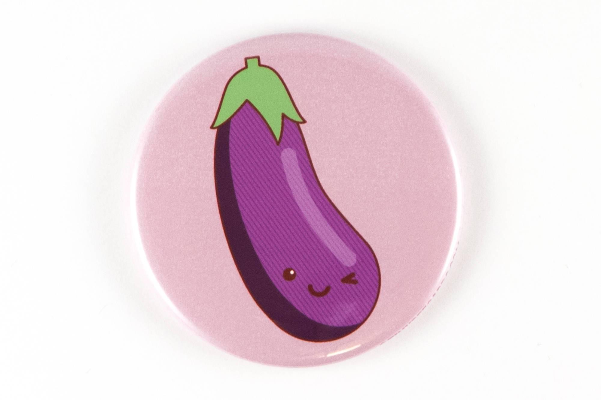Funny Eggplant Emoji Magnet Pinback Button Or Pocket Mirror