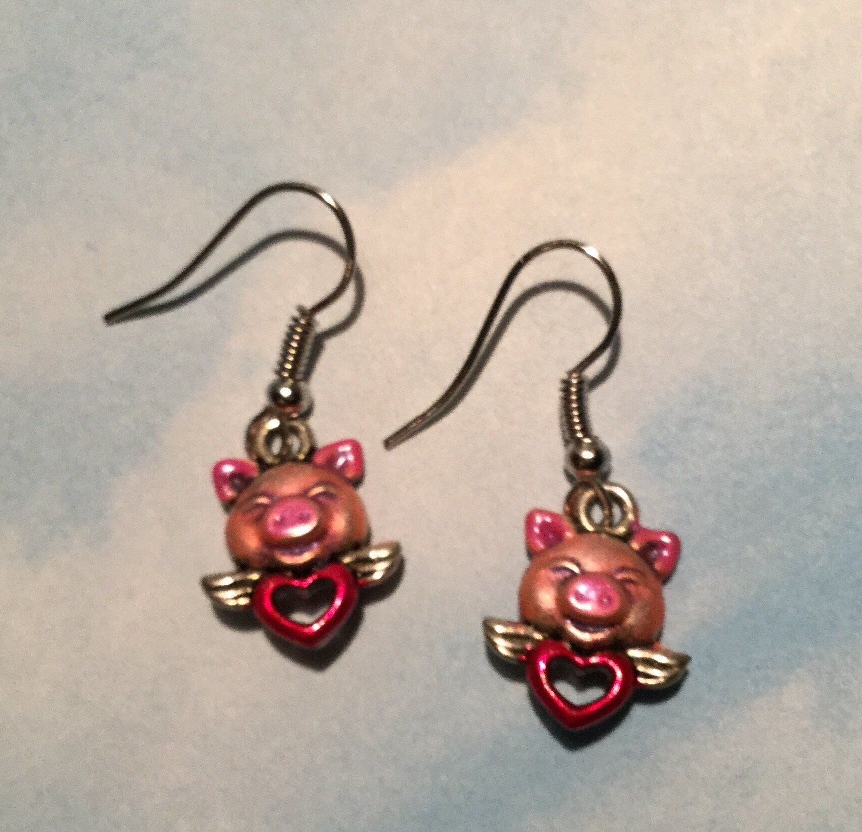 Piglet Earrings Flying Pig Heart Hog Swine Piggy Lucky By Artisticearsbypeggy On Etsy