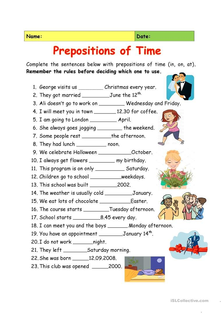 Prepositions of Time English prepositions, Teaching