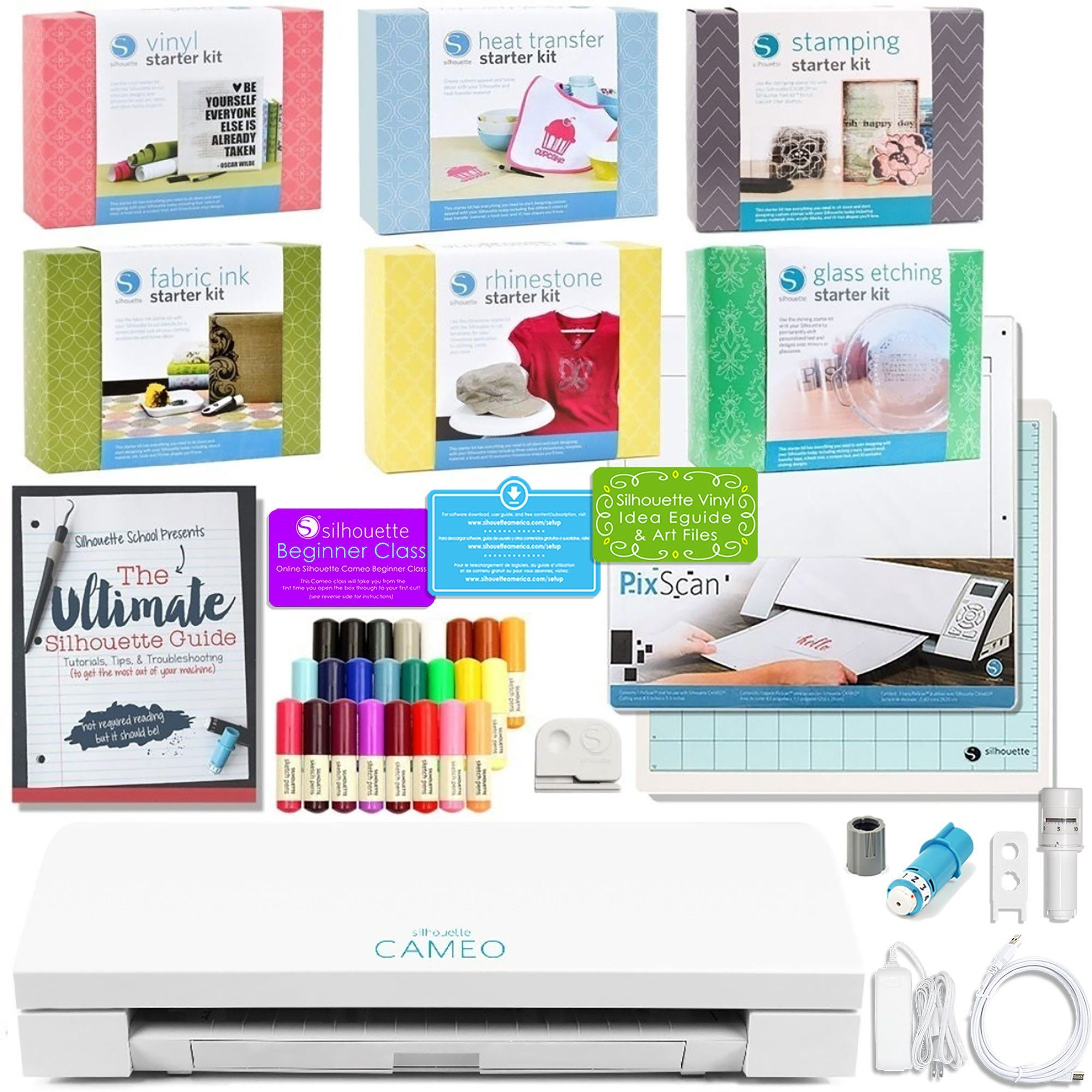 Silhouette Cameo 3 Bluetooth with Glass Etching and Stamping Starter Kits