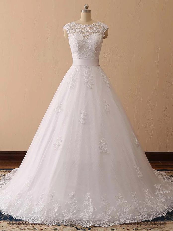 Élégant Cap manches dentelle robes de mariée robe de bal   – Bridelily Wedding Dresses