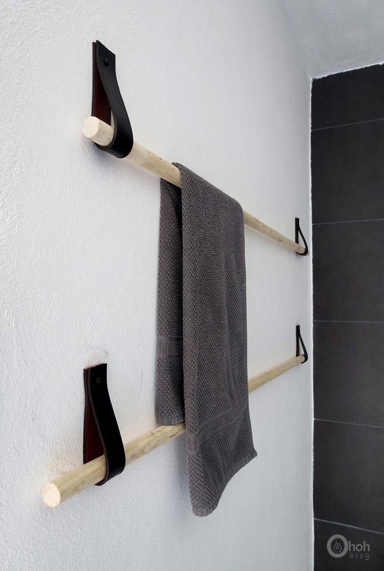 diy porte serviette design cuir et bois oh oh blog4 bricolage pinterest salle de bain. Black Bedroom Furniture Sets. Home Design Ideas