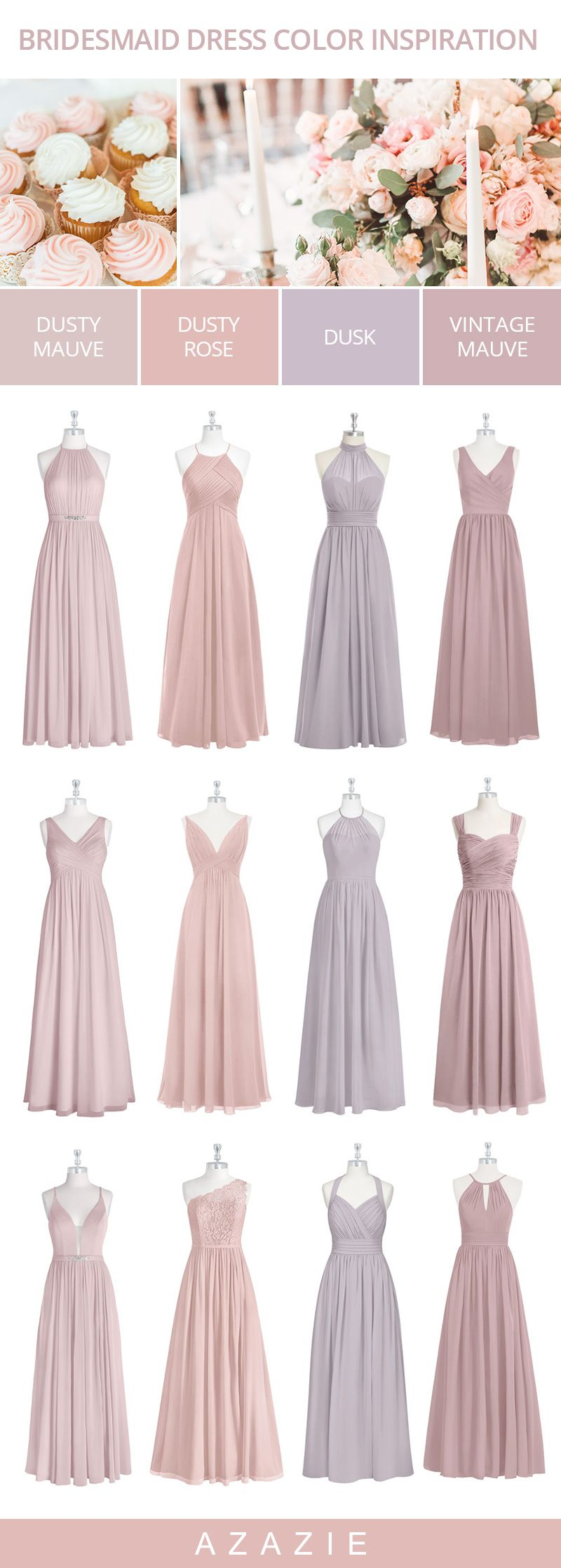 Dusty Pink and Purple Bridesmaid Dresses Color Inspirations #dustyrosewedding