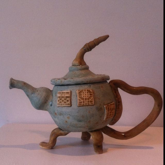 """A teapot I made for a local show. I call it, """"An extra share of whimsy"""""""