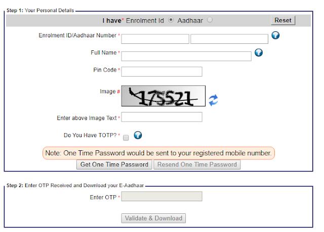 Aadhar Card Download With Aadhaar Number Aadhar Card Card Downloads One Time Password