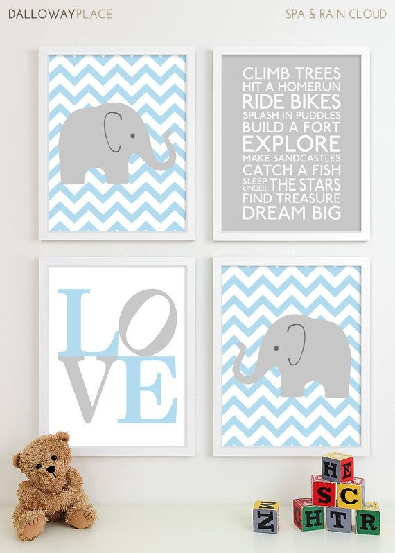 Grabados Baby Boy vivero arte Chevron elefante vivero niños | Deco ...