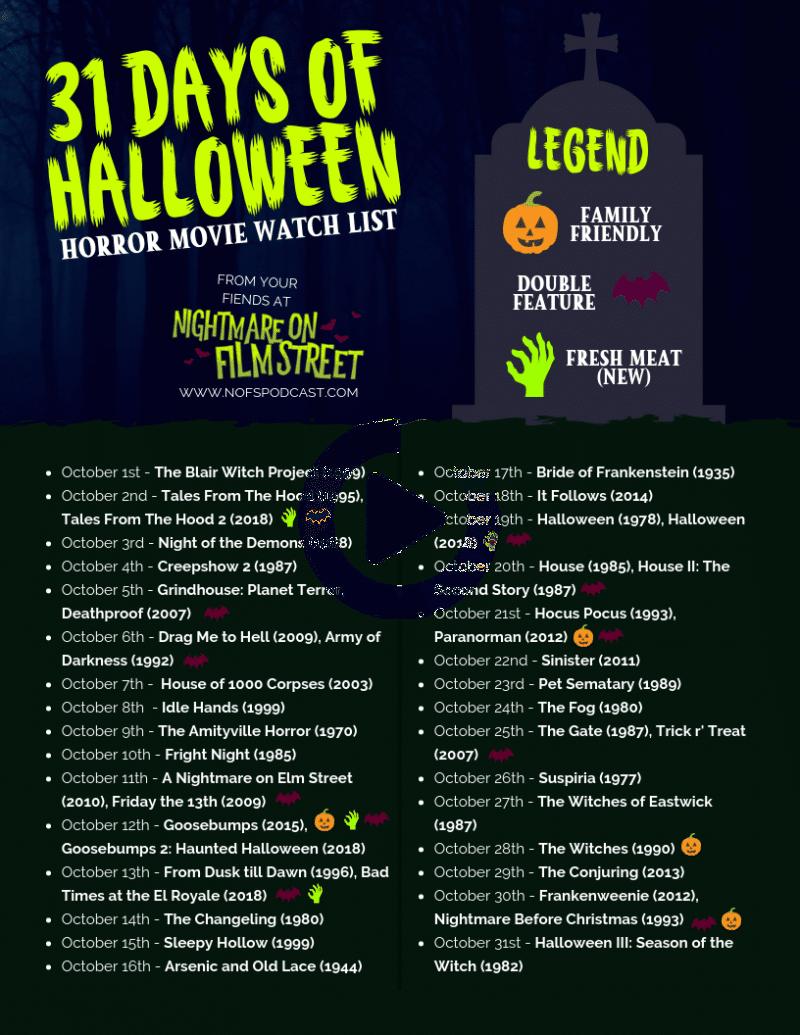 31 DAYS OF HALLOWEEN 2018 Horror Movie Marathon List