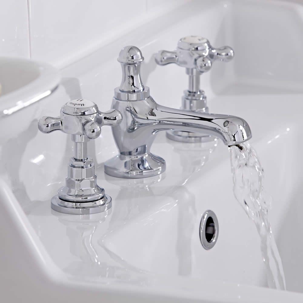 Mélangeur lavabo 16 trous – Commandes croisillons - Chromé et blanc