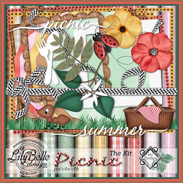 """PICNIC - FREE during the month of July, 2014 as a reward for participating in the Calendar Challenge at Ivy Scraps.  Available in Ivy's store combined with """"The Extras"""" for $1.50."""