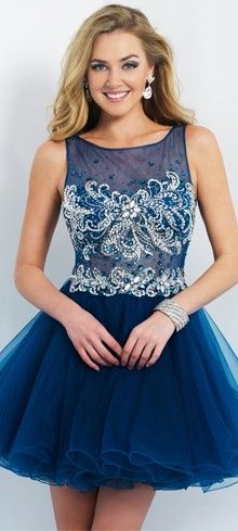 Preorder - Intrigue by Blush INT91 Midnight Blue Illusion Bodice Tulle Dress 2015 Homecoming Dresses $249.00