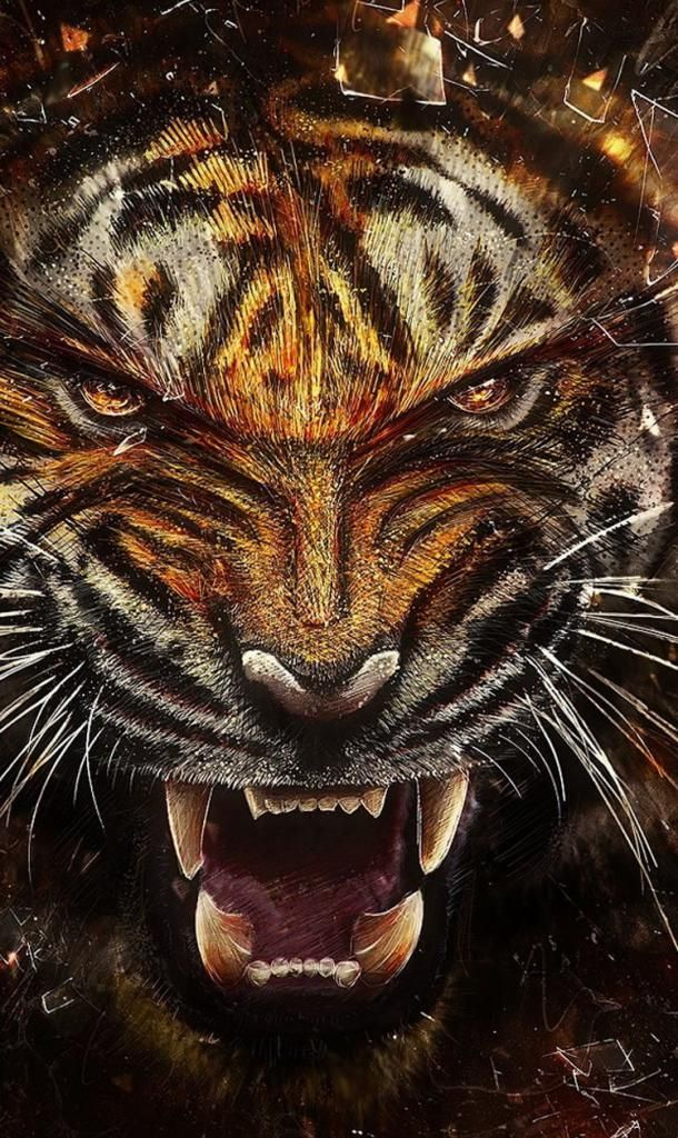 Iphone X Wallpaper Background Screensaver Tiger Fangs