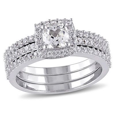 Zales Cushion-Cut Lab-Created White Sapphire Frame Three Piece Bridal Set in Sterling Silver