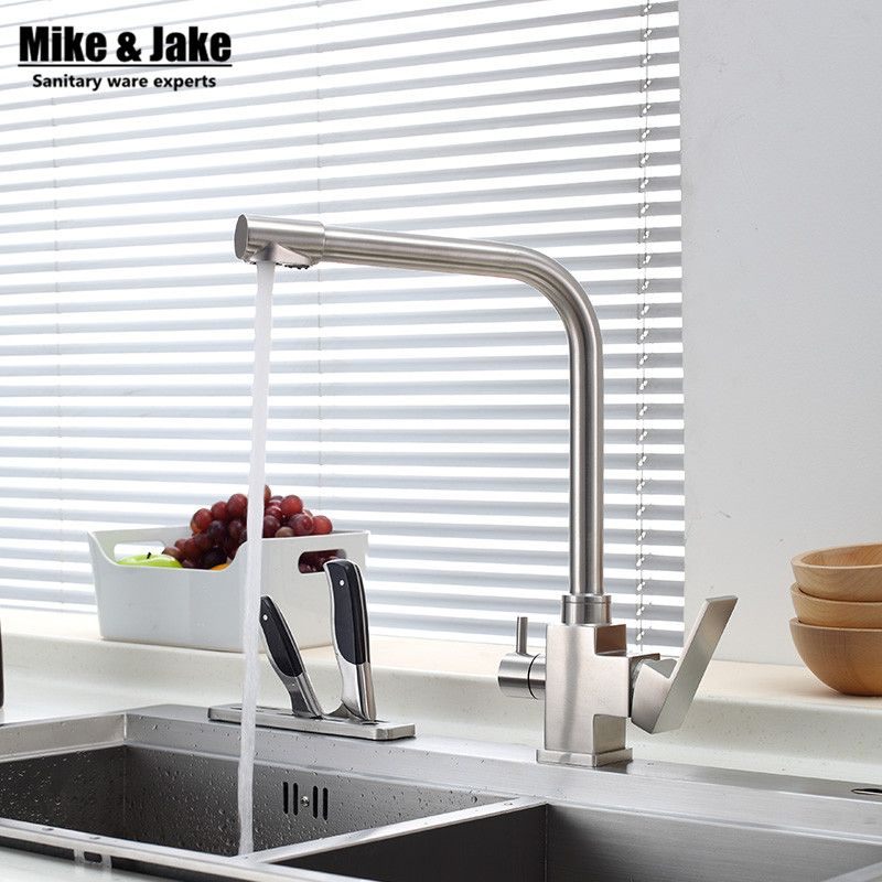 Reviews 304 NO PB Kitchen Tap Faucets Double Function Three Way Kitchen  Drinking Water Faucet For
