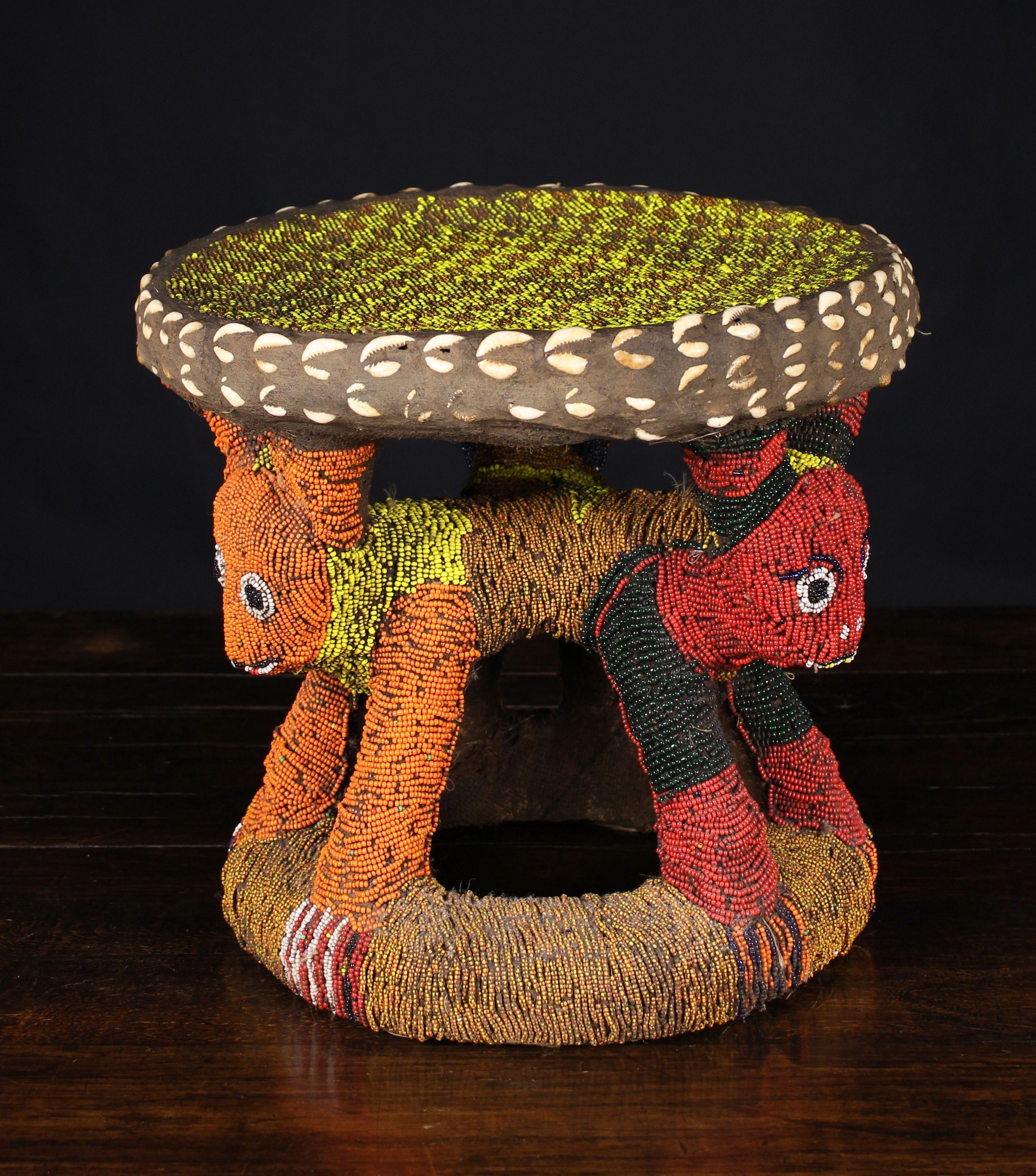 Lot 113 An Early To Mid 20thcentury Stunning And Rare Bamileke Beaded Queen Stool The Carved Leopard Design Is Encased African Art Africa Art African Masks