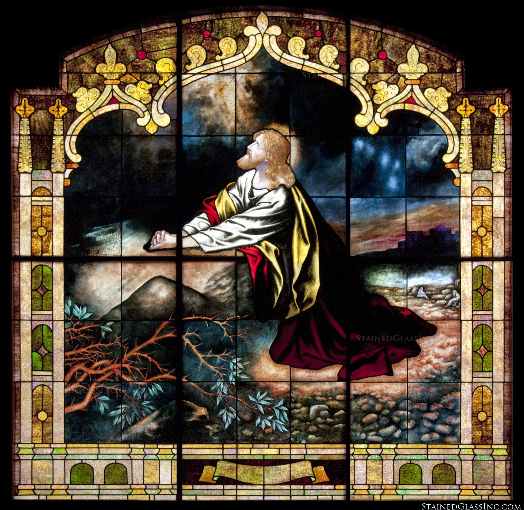 Prayer At The Garden Of Olives Religious Stained Glass Window