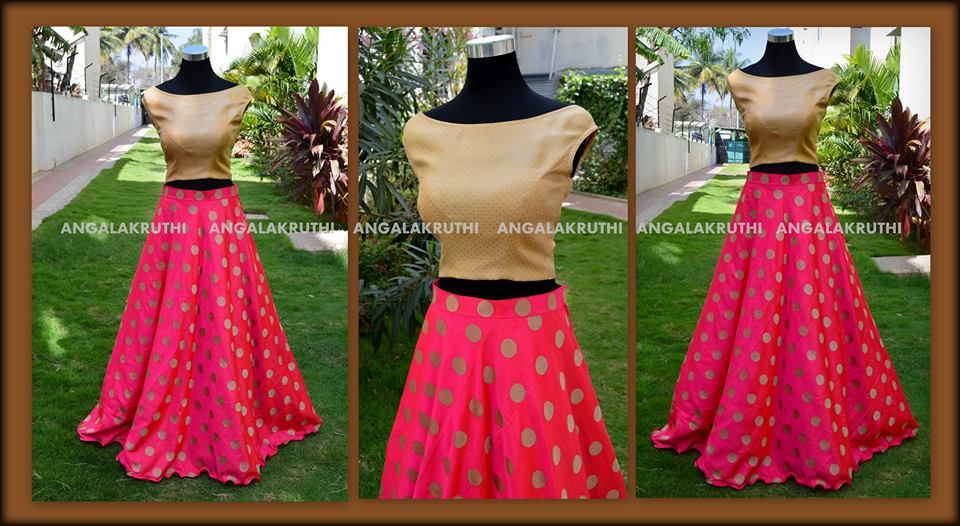 Custom Designs By Angalakruthi Ladies Boutique Bangalore Crop Top N Lehenga Designs By Angal Backless Dress Formal Trendy Blouse Designs Kurti Designs Latest