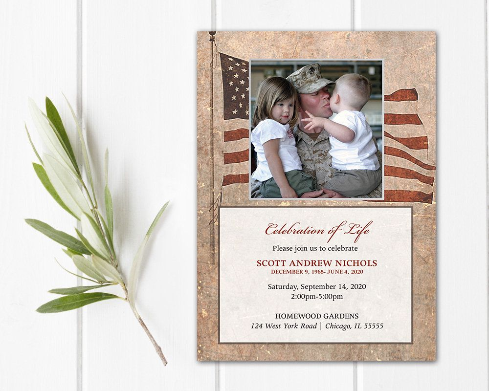 Celebration Of Life Invitation Military Funeral Announcement Etsy Celebration Of Life Printed Cards Funeral Templates Celebration of life announcement template