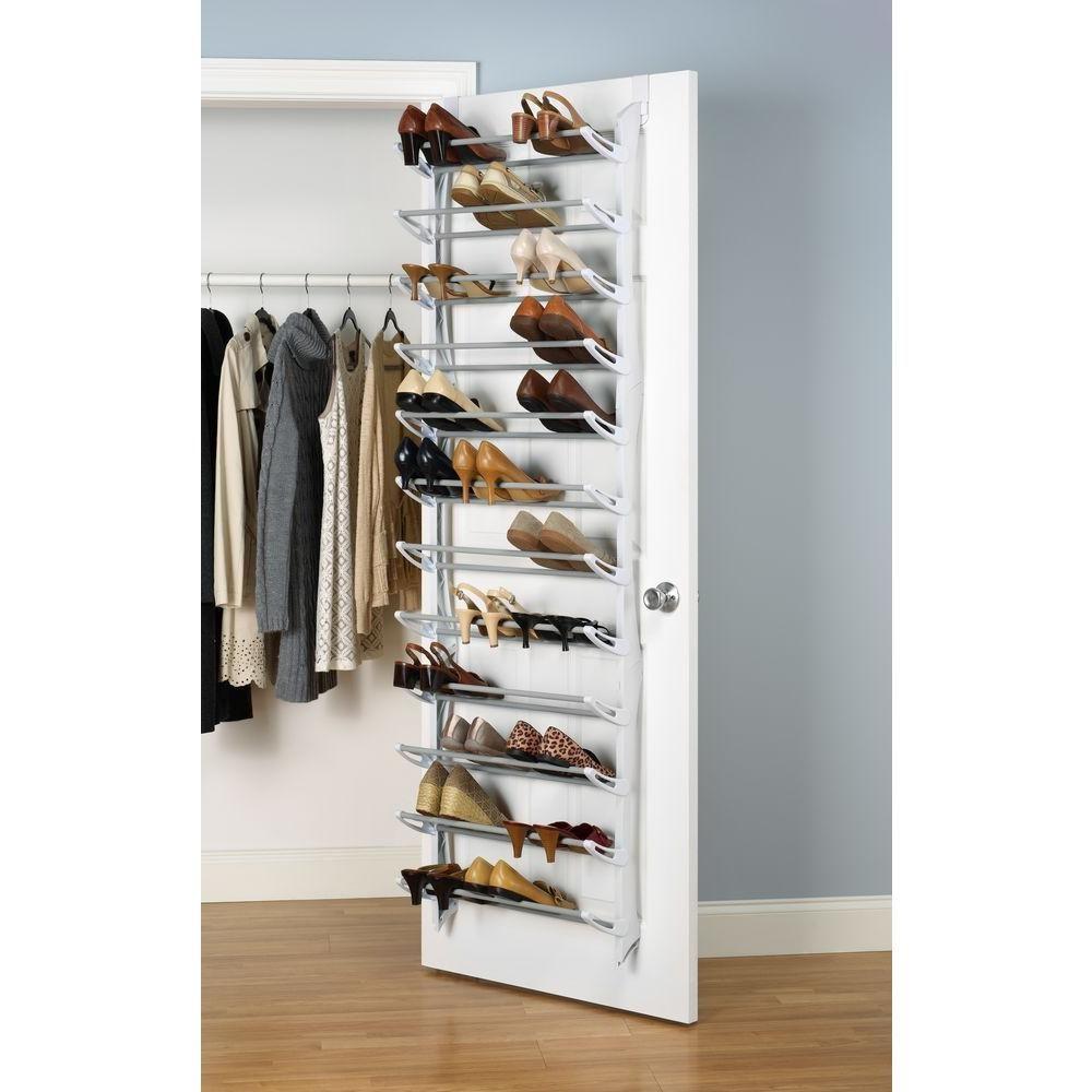 Whitmor Shoe Rack Collection 22.63 In. X 74.50 In. 36 Pair Resin Over The Door  Shoe Rack In White