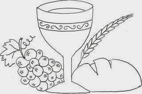 Calice Uvas E Pao Simbolos Eucaristicos Desenho Evangelicos